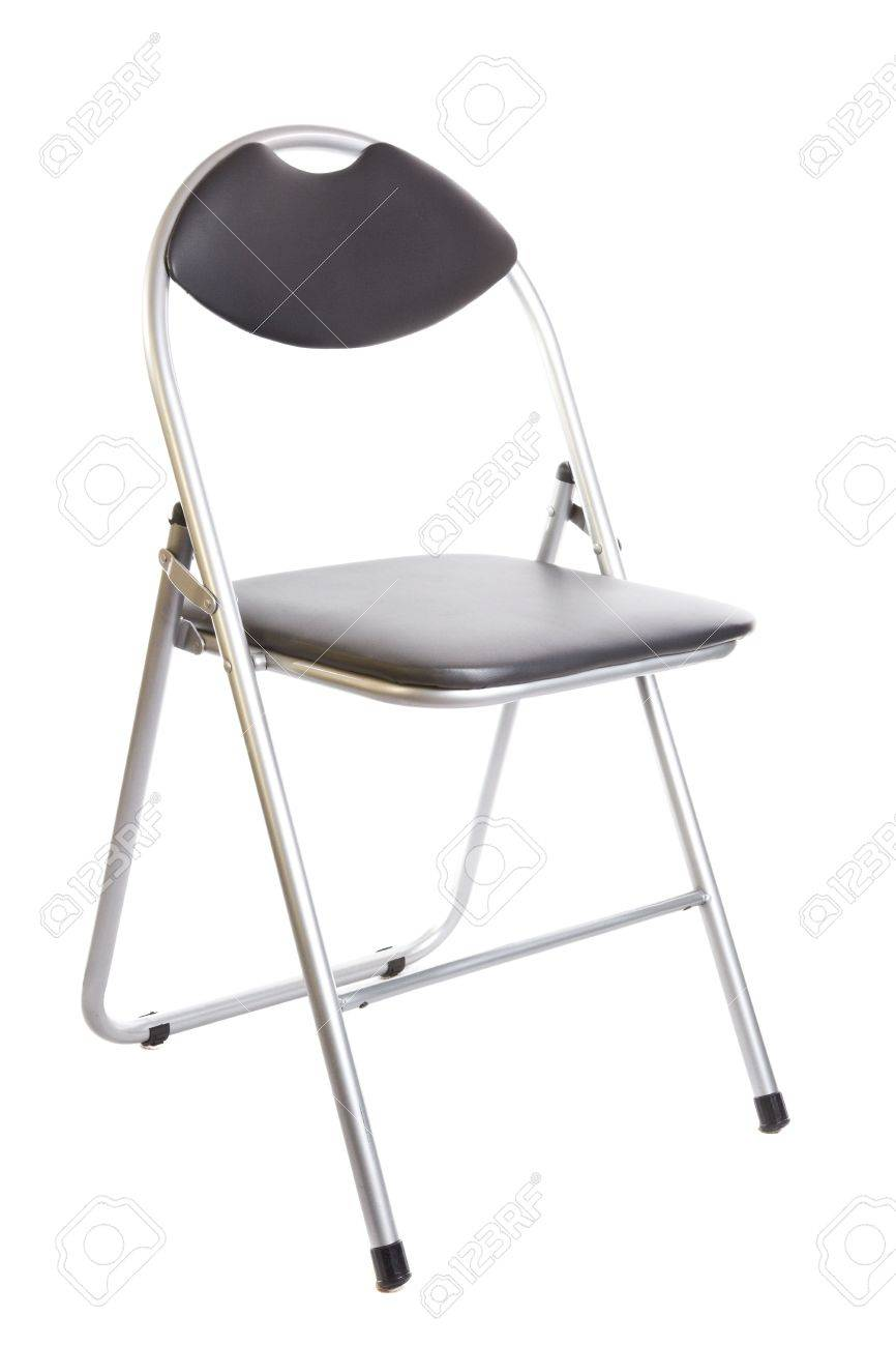 Collapsible Chair Collapsible Black Metal Chair Isolated On White Background