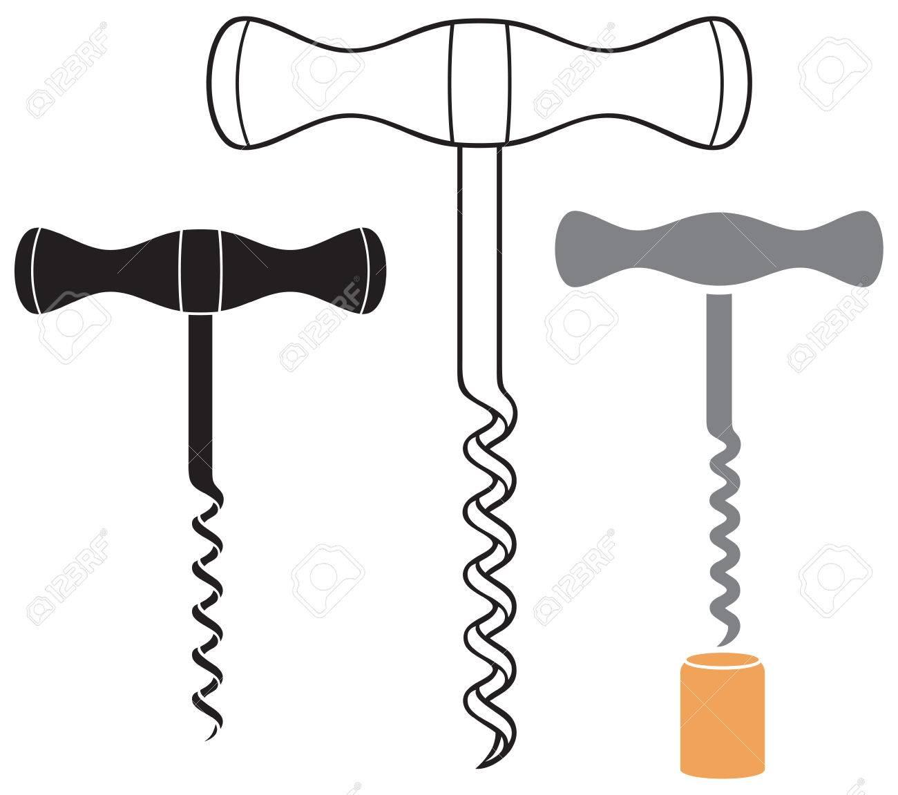 hight resolution of corkscrew wine opener vector illustration stock vector 66527103