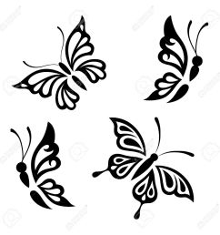 collection black and white butterflies for design isolated on white background vector stock vector [ 1300 x 1300 Pixel ]