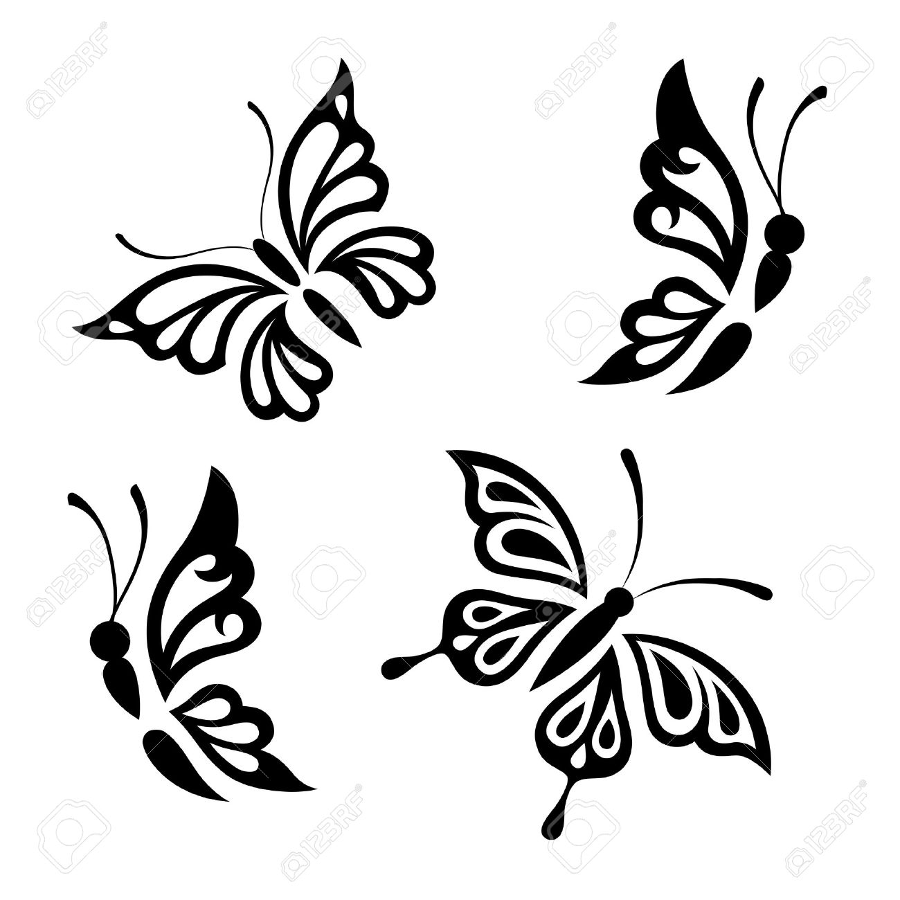 hight resolution of collection black and white butterflies for design isolated on white background vector stock vector