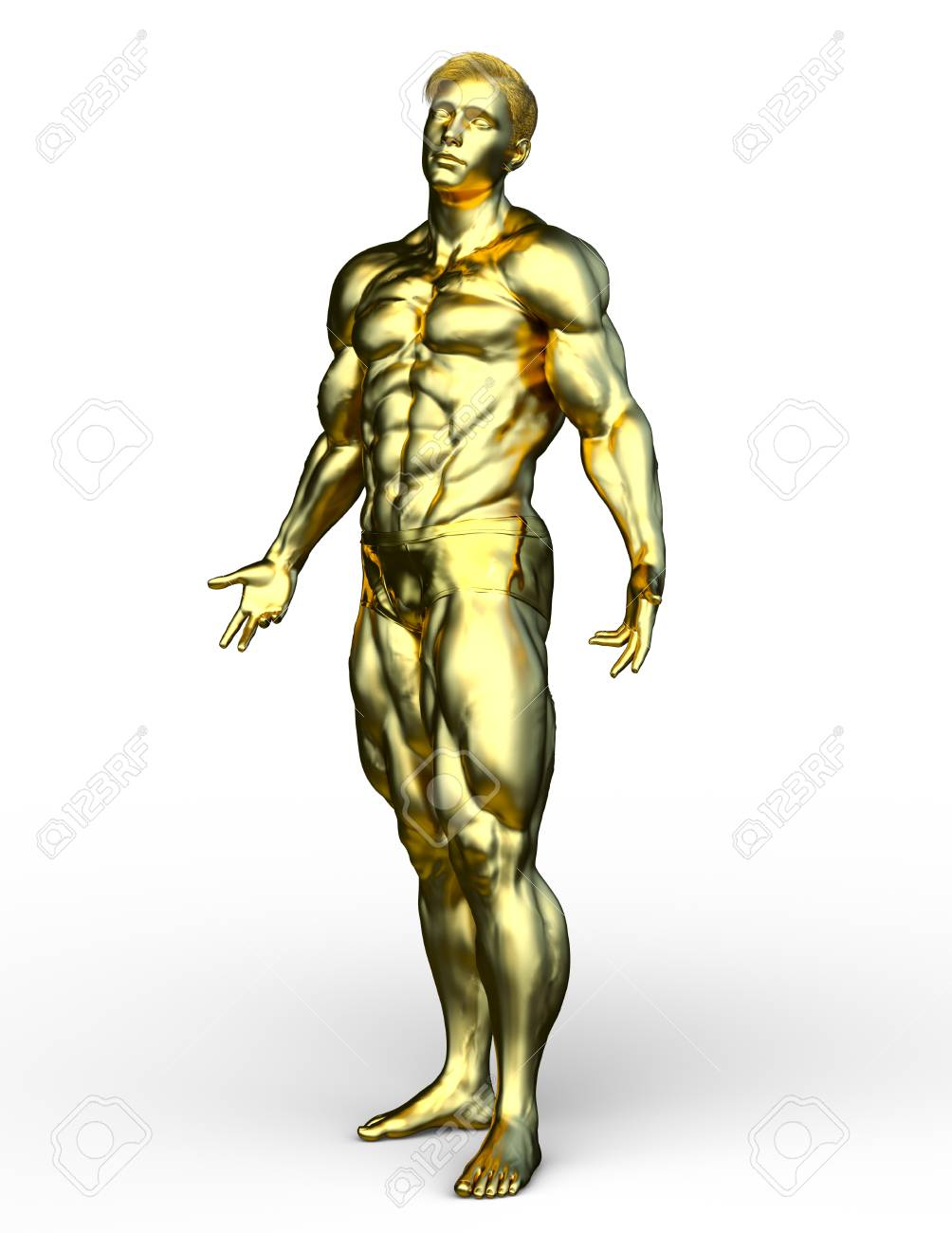 Man Of Gold : Rendering, Statue, Stock, Photo,, Picture, Royalty, Image., Image, 113776903.