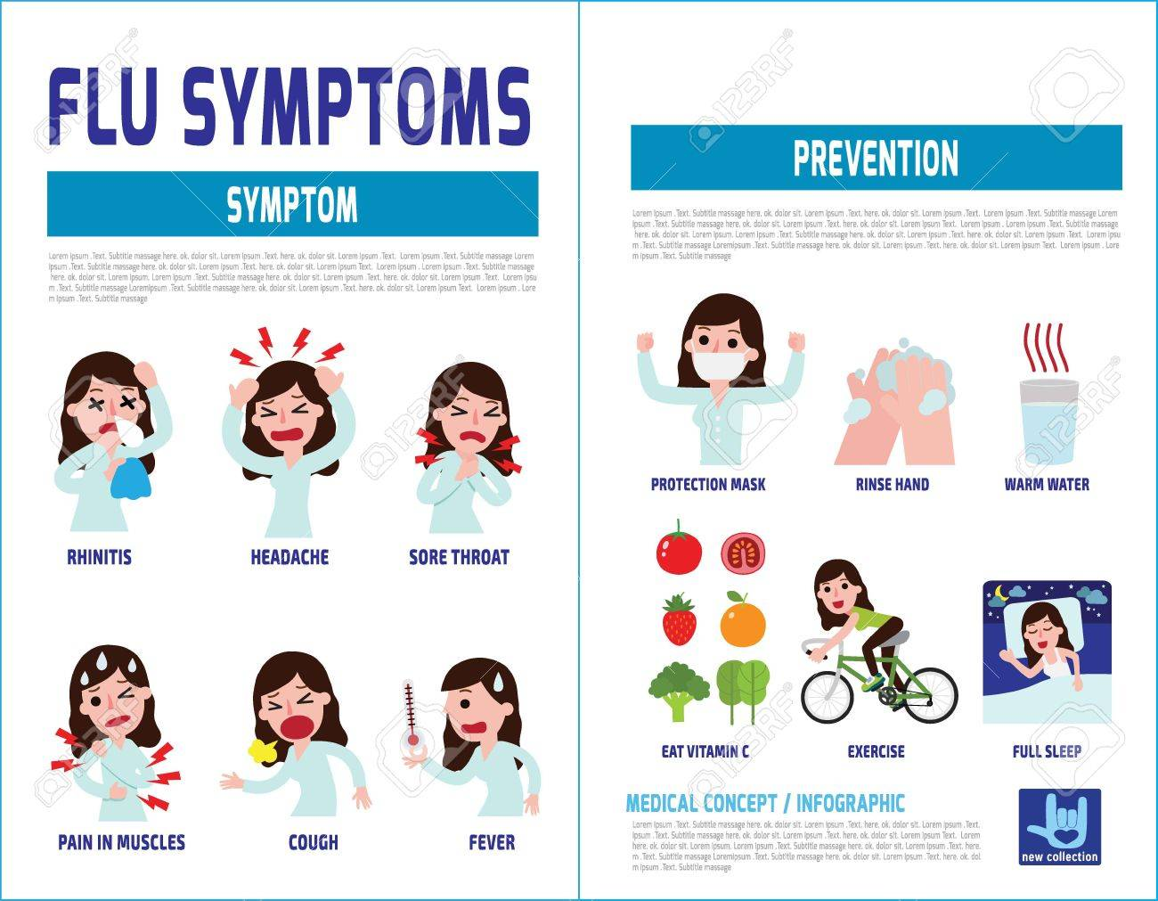 Flu Symptoms And Influenza.health Care Concept. Infographic ...