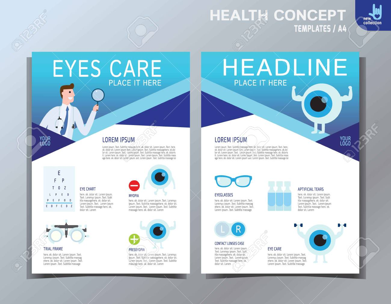 Ophthalmic Infographic Element. Eye Care Vector Icon Set. Medical Health  Care Flyer Banner Leaflet