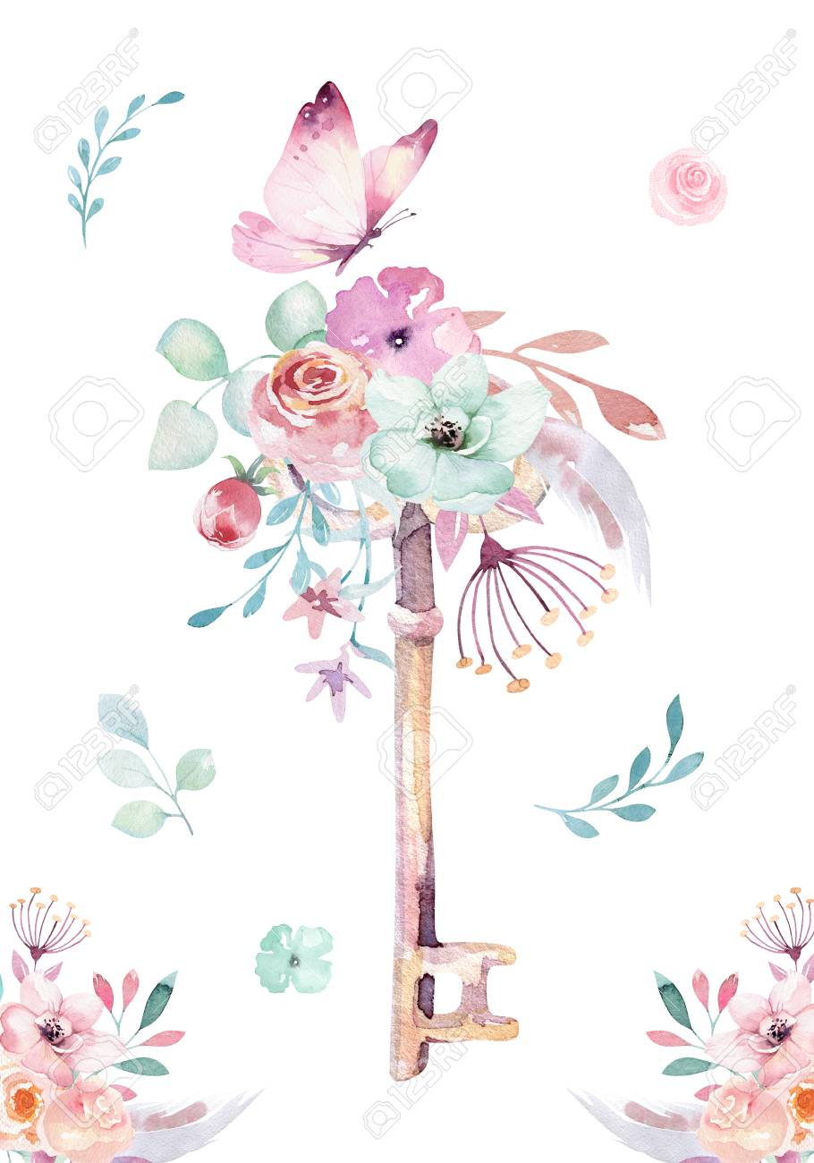 hight resolution of illustration isolated cute watercolor unicorn keys clipart with flowers nursery unicorns key illustration princess rainbow poster pink magical poster
