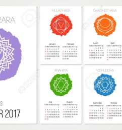 calendar 2017 design template with 7 chakras set of 12 months vector isolated on white background [ 1300 x 751 Pixel ]