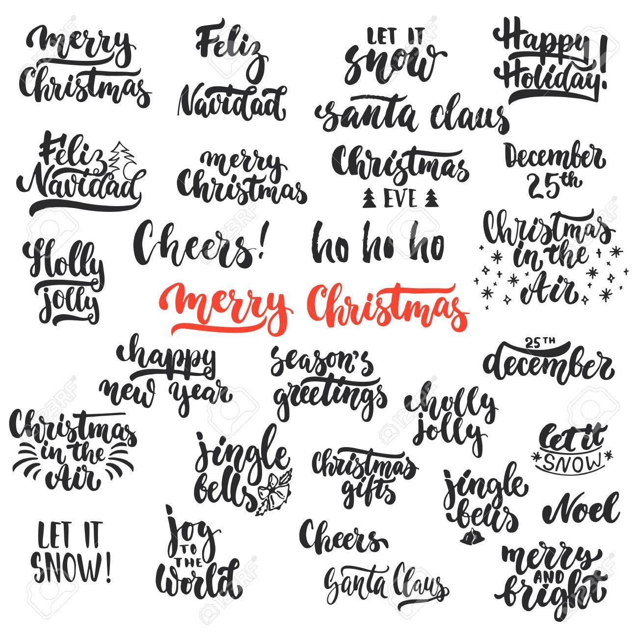 lettering christmas and new