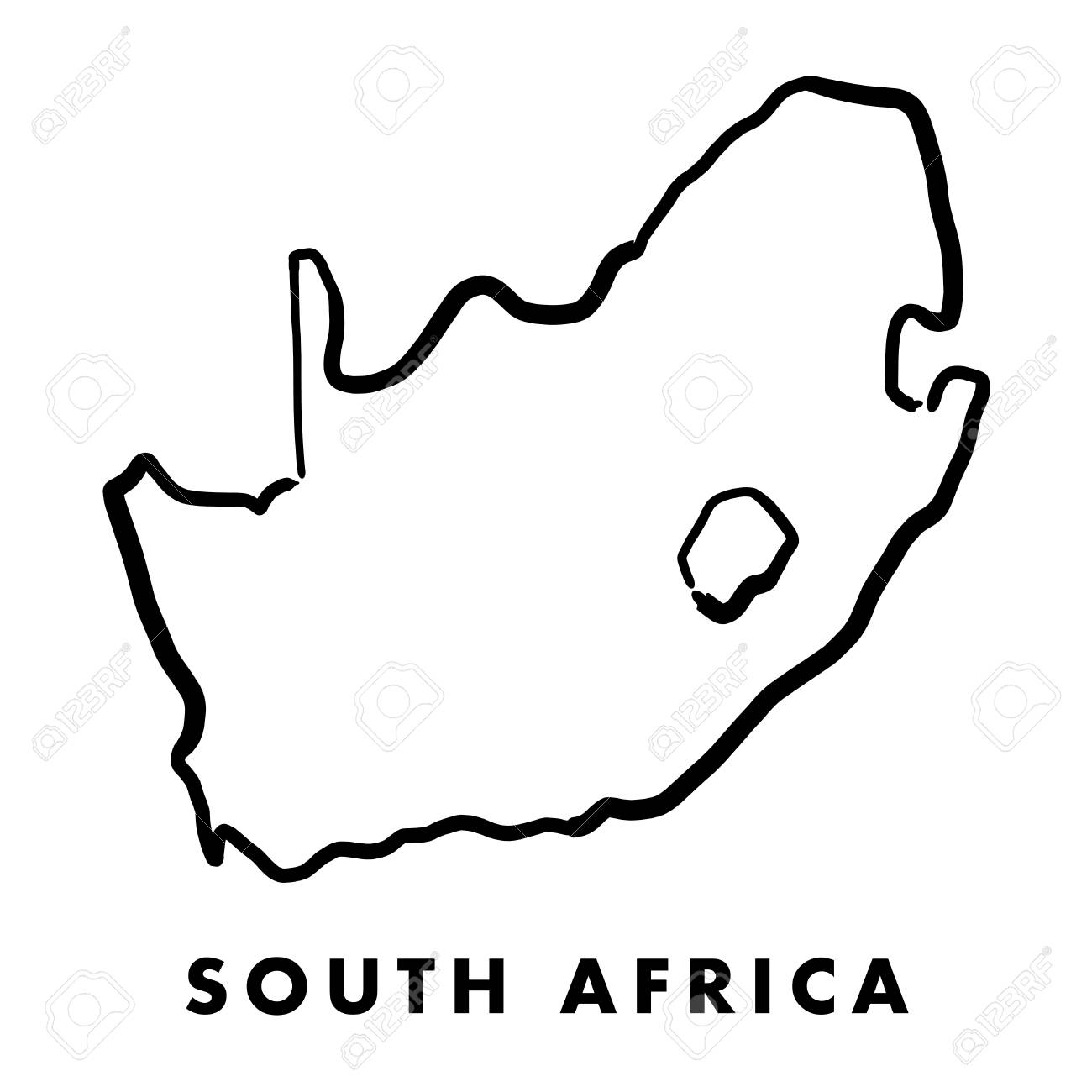 South Africa Simple Map Outline Smooth Simplified Country Shape Royalty Free Cliparts Vectors And Stock Illustration Image 89179521