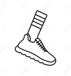 vector illustration icon of socks and sport running shoes sneakers black outline  [ 1300 x 1300 Pixel ]