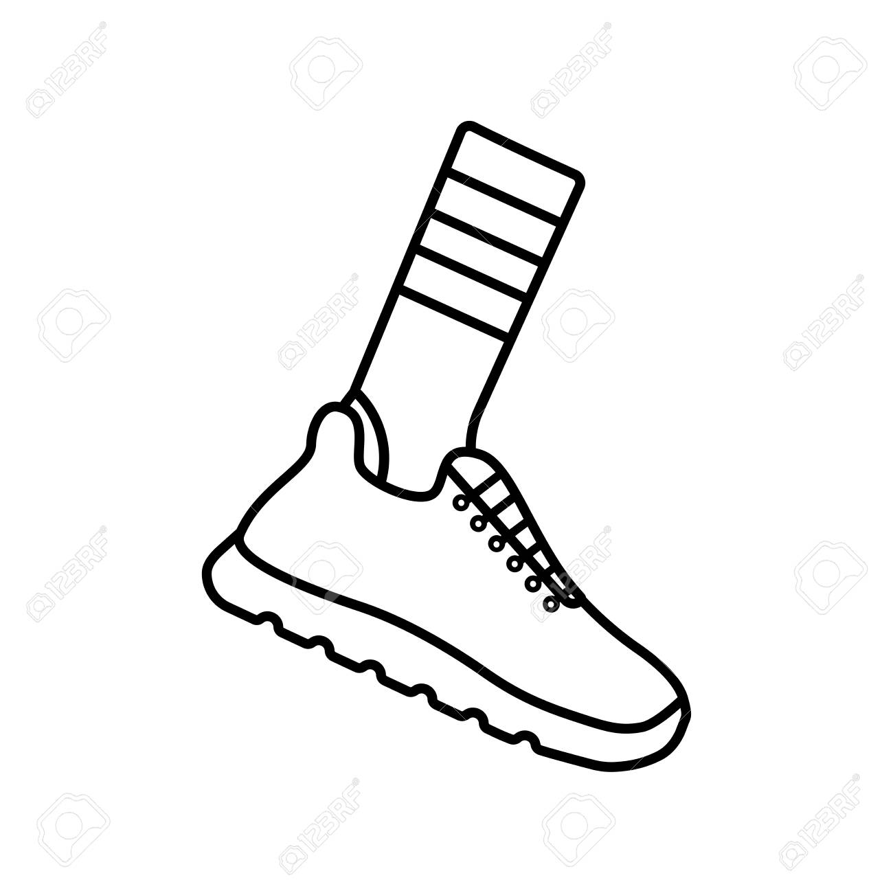 hight resolution of vector illustration icon of socks and sport running shoes sneakers black outline