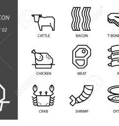 outline icon pack for food and beverage cattle bacon tbone steak lamb [ 1300 x 705 Pixel ]