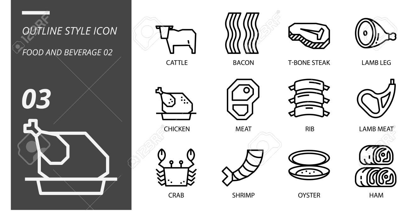 hight resolution of outline icon pack for food and beverage cattle bacon tbone steak lamb