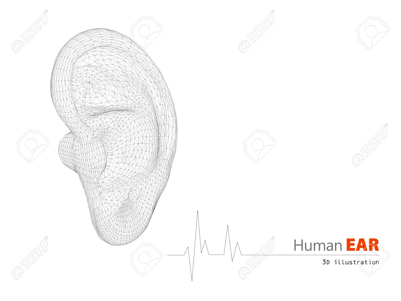hight resolution of 3d illustration of human ear abstract scientific background stock illustration 69526248