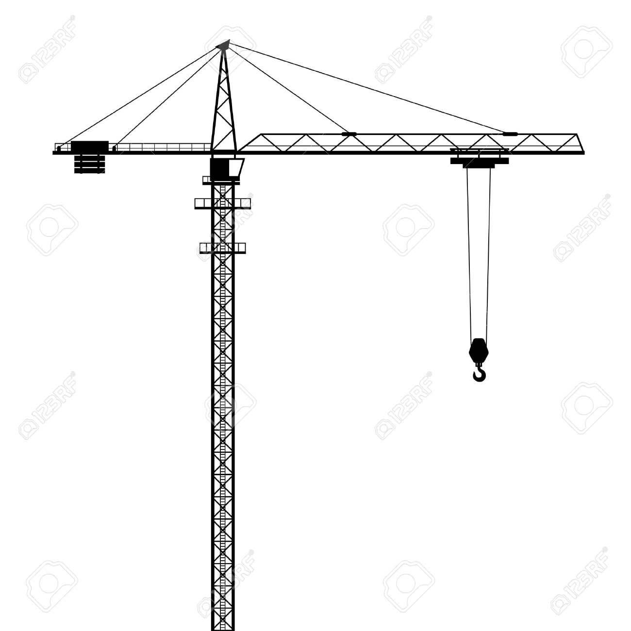 hight resolution of tower crane vector shape isolated on white background stock vector 49989988