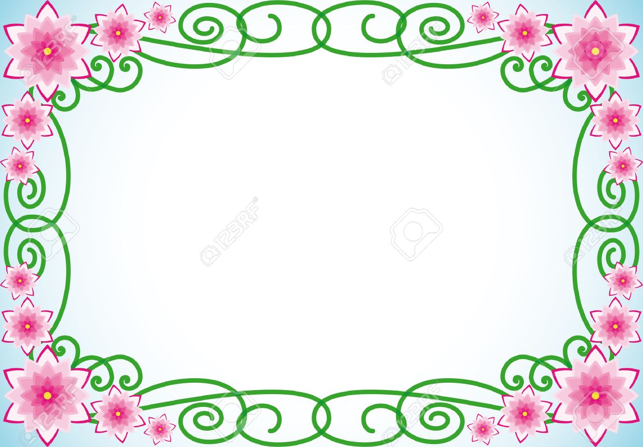 Floral Border With Pink Flowers And Green Spiral Leaves Stock Vector 5784164