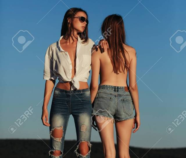 Pretty Sexy Cute Girls Or Women In Jeans And Shorts Topless In Sunglasses Outdoor On Sunny