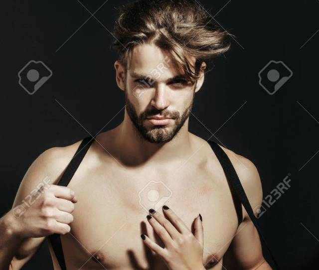 Handsome Guy Fashion Sexy Young Bearded Macho Man Model With