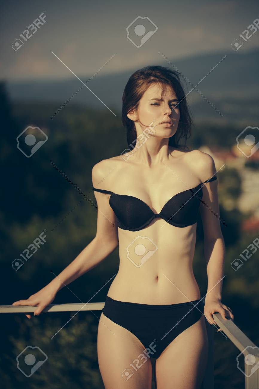 Girls In Panties And Bra : girls, panties, Woman, Sunbathing, Black, Panties., Lingerie.., Stock, Photo,, Picture, Royalty, Image., Image, 85701937.