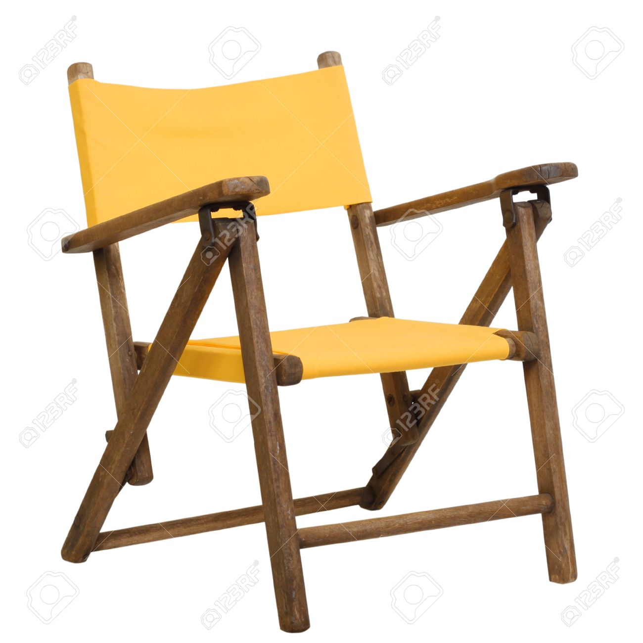 antique lawn chairs buy chair covers edmonton folding canvas childrens in bright yellow stock photo 11897875