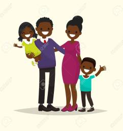 african american family father mother son and daughter vector illustration of a [ 1299 x 1300 Pixel ]