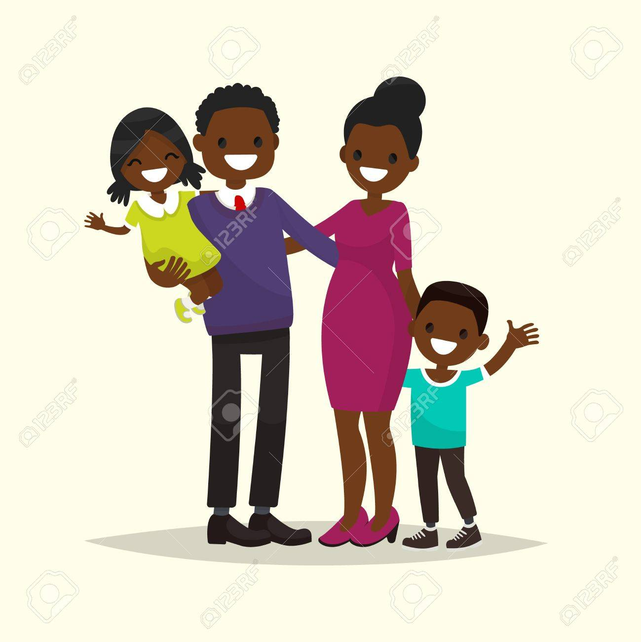 hight resolution of african american family father mother son and daughter vector illustration of a