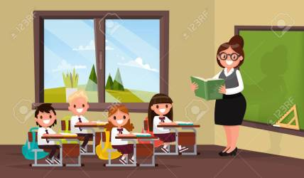 Lesson A Teacher With Pupils In Primary School Classroom Vector Royalty Free Cliparts Vectors And Stock Illustration Image 69882867