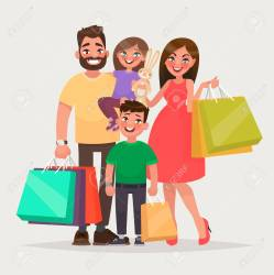 Happy Family Is Shopping Father Mother And Children With Packages Royalty Free Cliparts Vectors And Stock Illustration Image 93878644