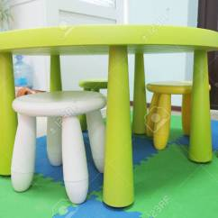 Plastic Kid Chairs Chair Covers For Sectionals Colorful And Table Stock Photo Picture 39158217