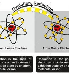 oxidation and reduction process infographic diagram with an example of redox reaction between two atoms one [ 1300 x 1072 Pixel ]
