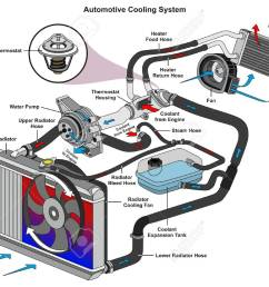 automotive cooling system infographic diagram showing process car heater hose diagram automotive cooling system infographic diagram [ 1300 x 994 Pixel ]