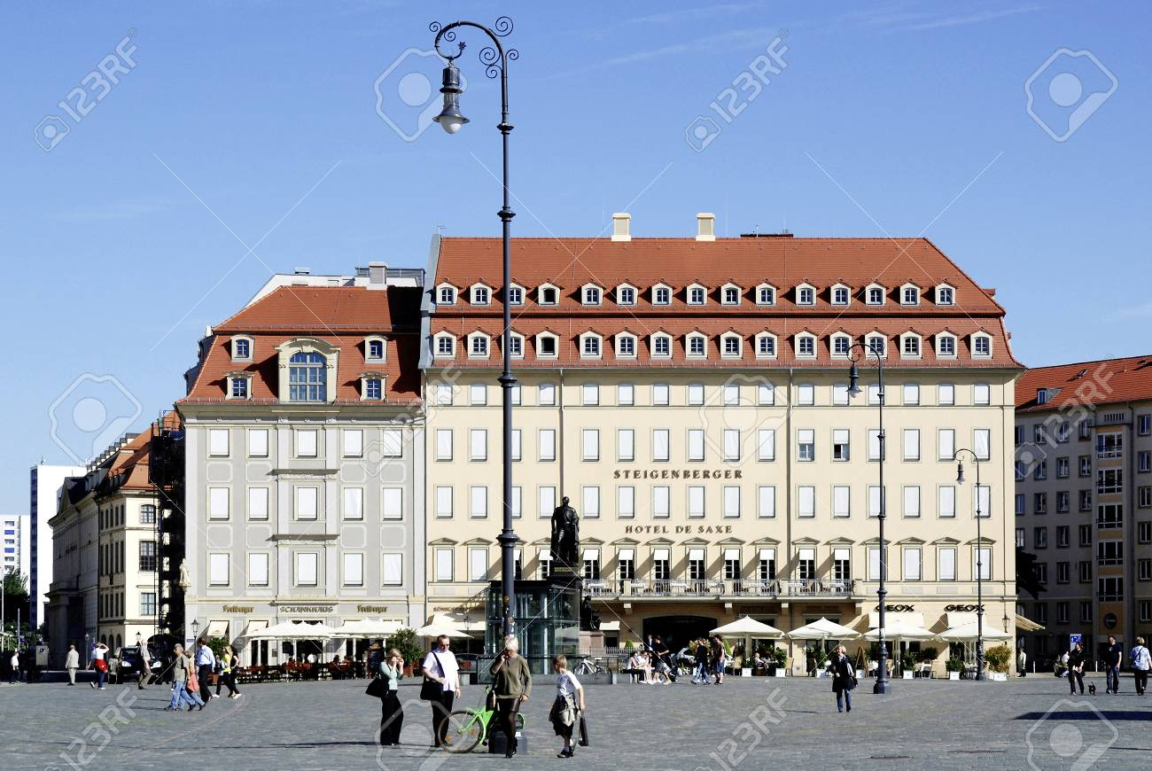 Square Neumarkt In Dresden With The Hotel De Saxe Germany