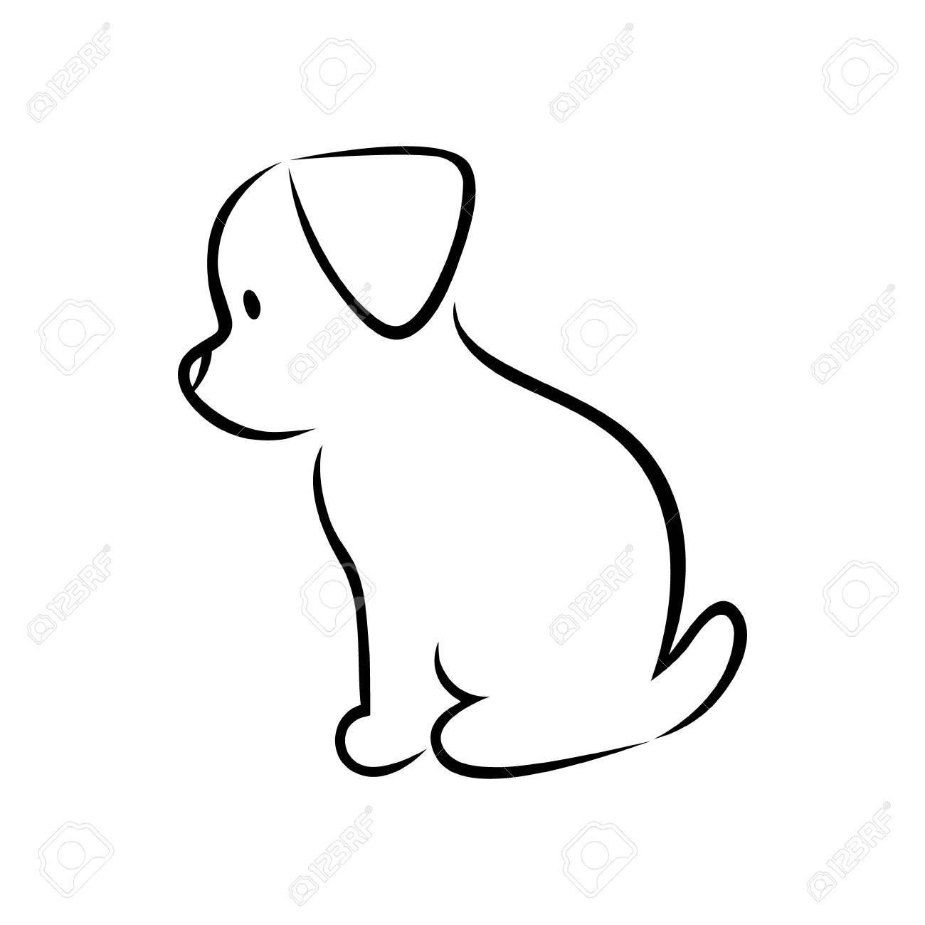 cute cartoon puppy silhouette