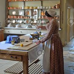 Kitchen Maid The Honest Coupon Victorian Cook Preparing Food In Authentic Stock Photo