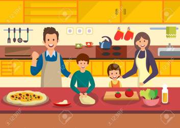Happy Cartoon Family Cooks Pizza In Kitchen People Prepare Italian Royalty Free Cliparts Vectors And Stock Illustration Image 102934383