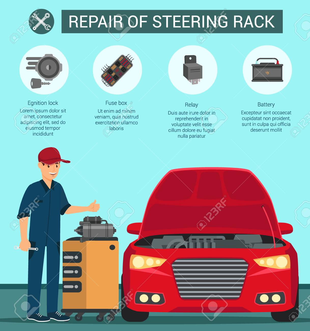 hight resolution of repair of steering rack battery fuse box relay egnition lock red car is standing in workshop with open hood and master with key in hands and shows with