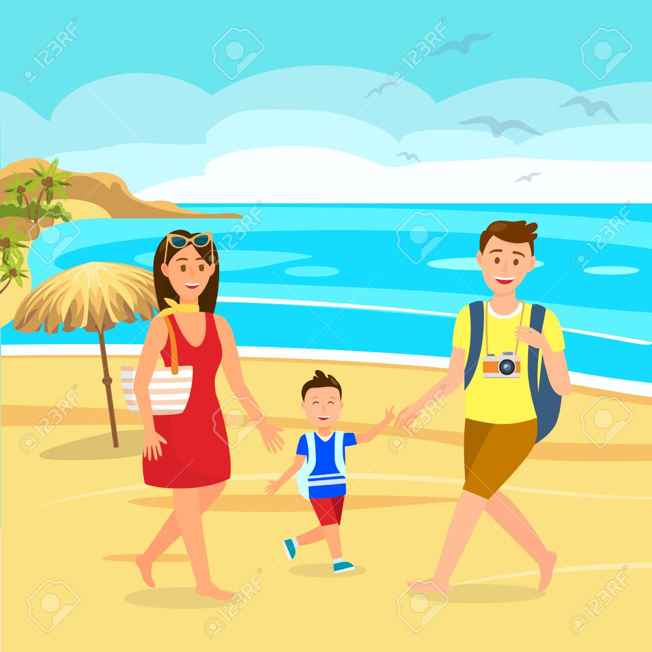 Summer Holidays On Beach Cartoon Illustration Family On Holiday Royalty Free Cliparts Vectors And Stock Illustration Image 124976153