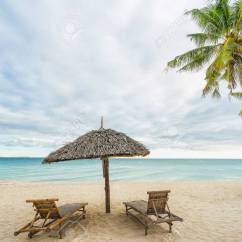 Beach Chairs And Umbrella Custom Dining Canada Two Coconut Palm On The Beautiful Stock Photo Island Travel Concept