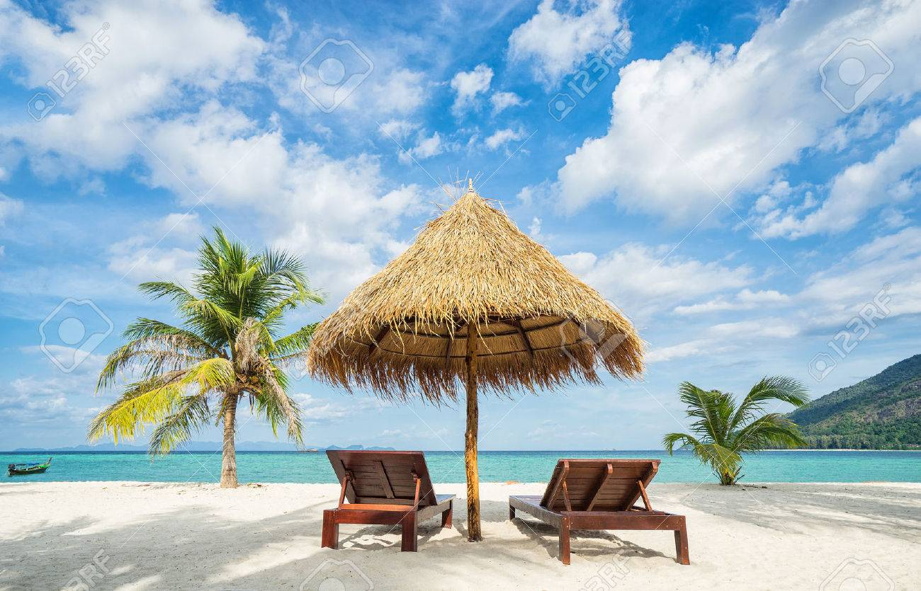 beach chairs and umbrella home depot lawn vacation in tropical countries palms stock photo on the