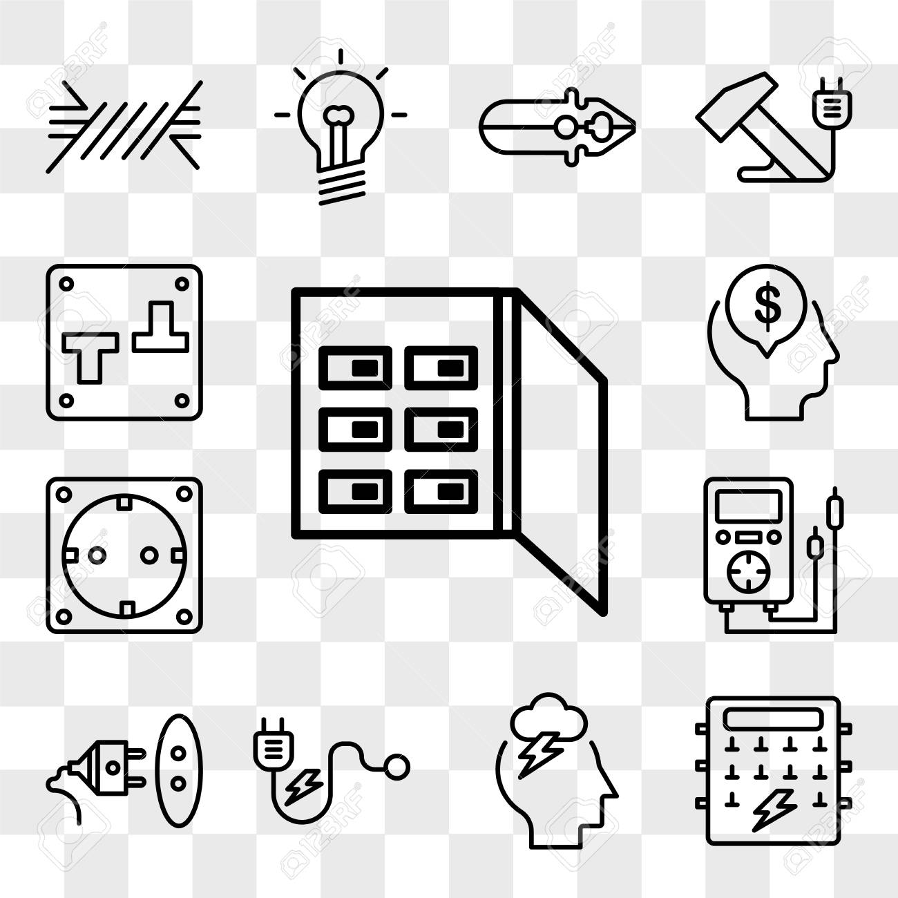 hight resolution of set of 13 transparent editable icons such as fuse box storm fuse box icons