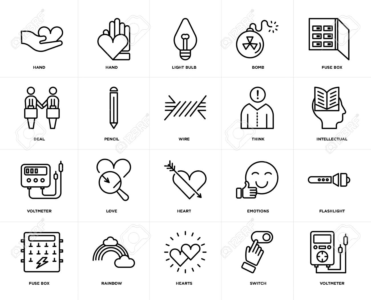 hight resolution of set of 20 icons such as voltmeter switch hearts rainbow fuse box