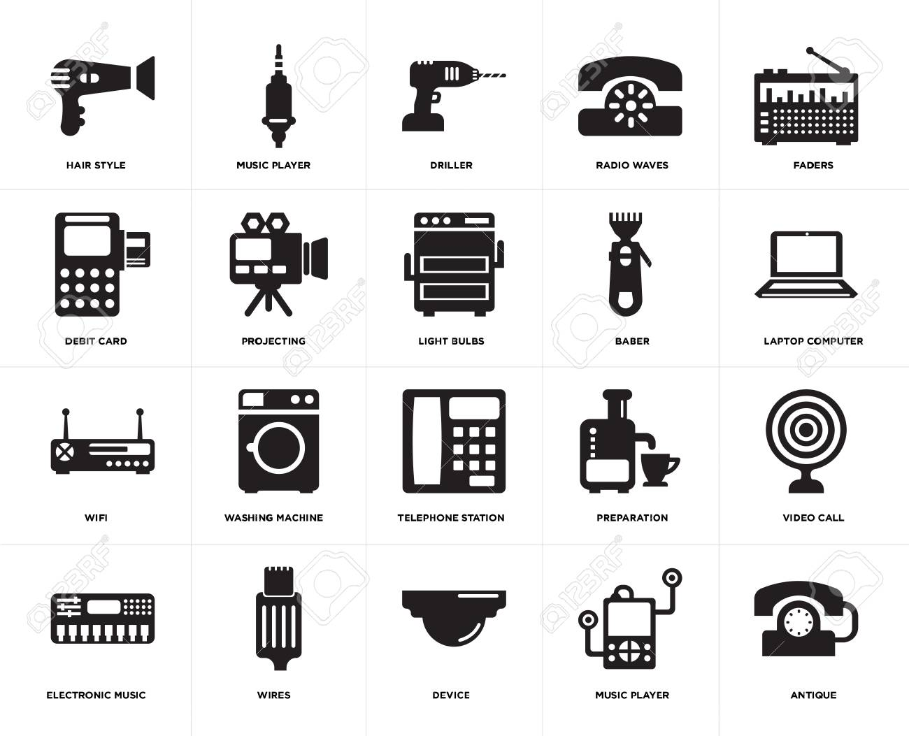 set of 20 icons