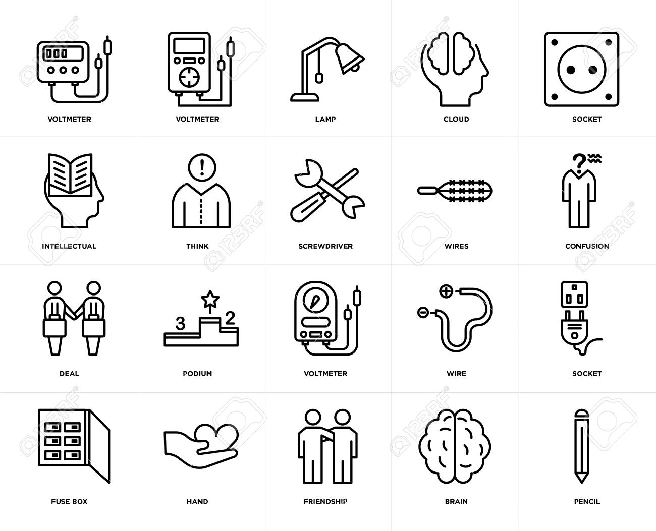 hight resolution of set of 20 icons such as pencil brain friendship hand fuse box