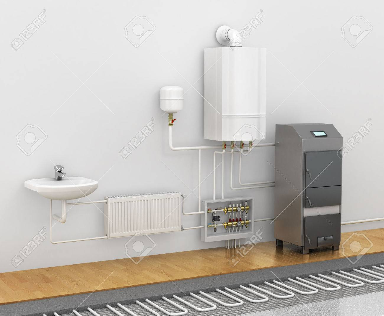 concept of the scheme of the heating system spend a warm floor