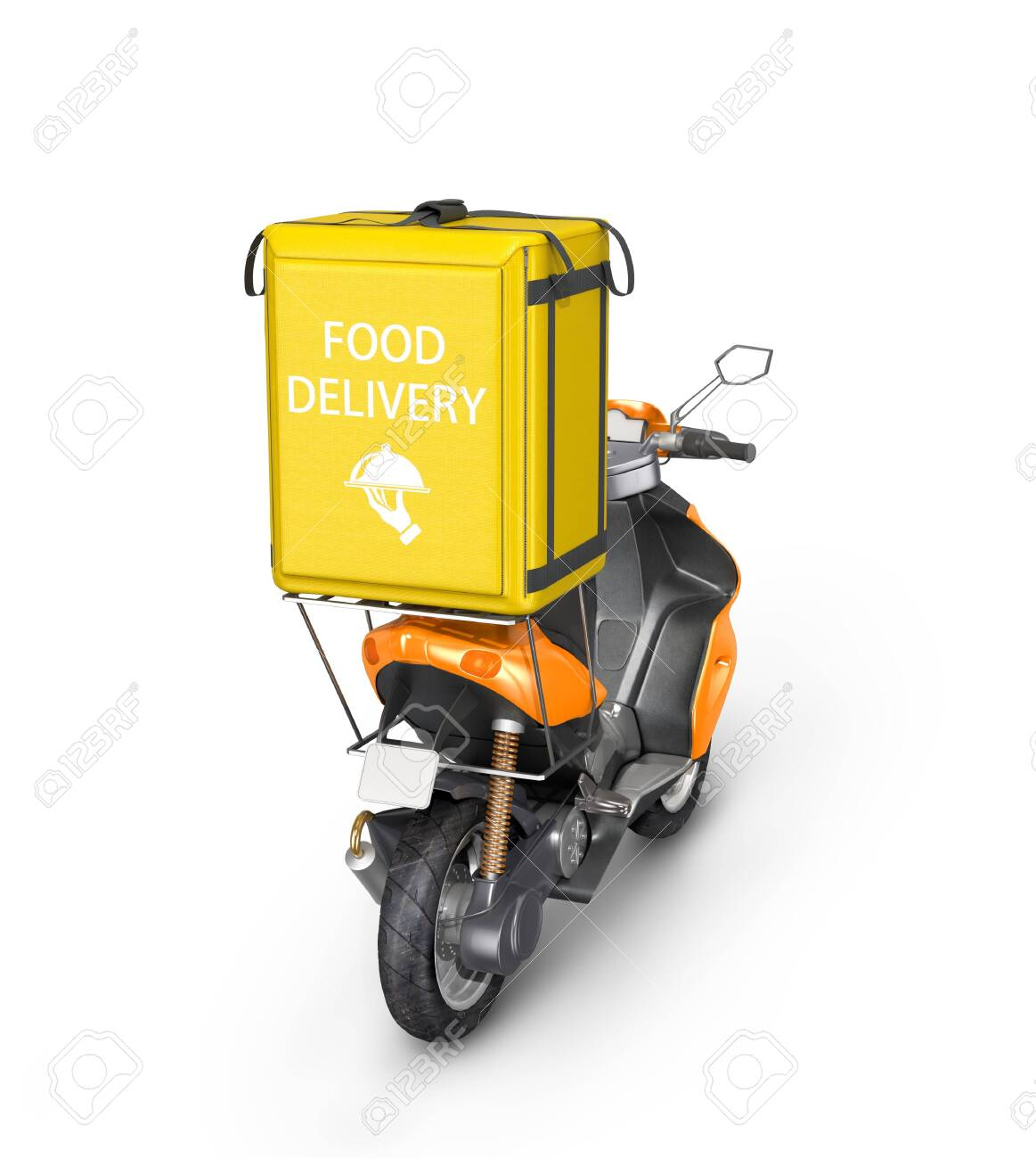 Using smart object layer you can place the logo design and cap color scheme easier and faster. Food Delivery Yellow Bag For Food Delivery On The Trunk Of A Motorcycle Scooter Delivery Services 3d Illustration Stock Photo Picture And Royalty Free Image Image 138875883
