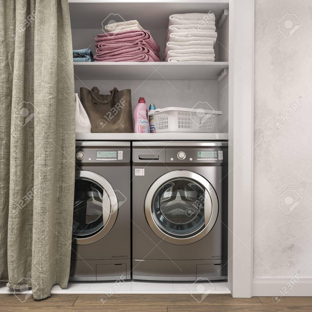 laundry room with wood floor washing machine at closet white