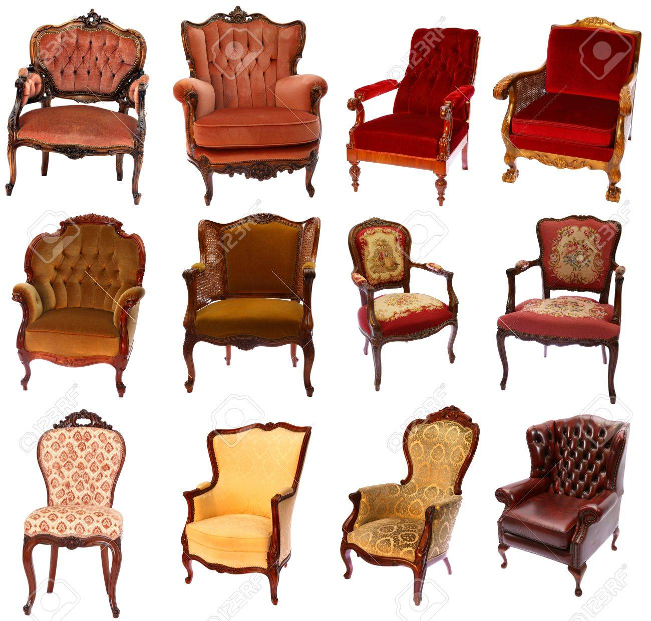 Styles Of Chairs Collection Of 12 Different Antique Style Chairs Isolated On White