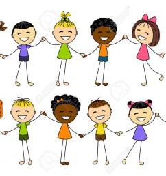 cute little kids holding hands stock vector 27279757 [ 1300 x 919 Pixel ]