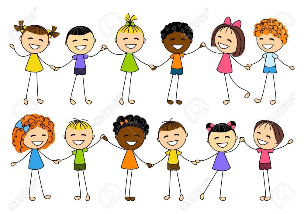 medium resolution of cute little kids holding hands stock vector 27279757