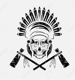 native american chief skull in tribal headdress with tomahawks stock vector 37763976 [ 1300 x 1300 Pixel ]