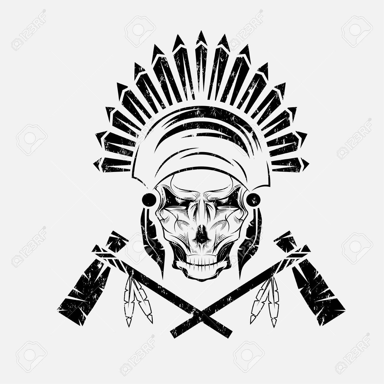 hight resolution of native american chief skull in tribal headdress with tomahawks stock vector 37763976