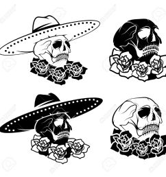 day of the dead skull with flowers and sombrero dia de los muertos stock vector [ 1300 x 1300 Pixel ]
